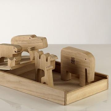 Wooden animal figures made of oak wood by Enzo Mari