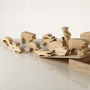 "Wooden puzzle ""Sedici Animali"" by Enzo Mari for Danese Milano with convenient box"
