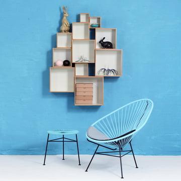 OK Design - Babushka Boxes, grey, Acapulco Chair, blue