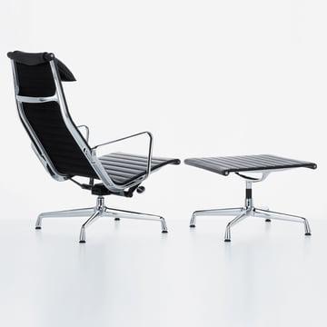 Vitra - Aluminium Group EA 124 + EA 125, black leather