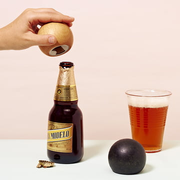 Areaware - Sphere Bottles Opener, natural wood, black