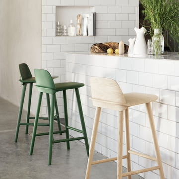 Muuto - Nerd Barstool, green, natural