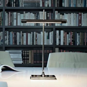 Flos - Goldman Table Lamp, nickel, smoke grey diffusor, office