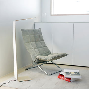 Led 2 floor lamp by Tunto optimally above upholstered furniture
