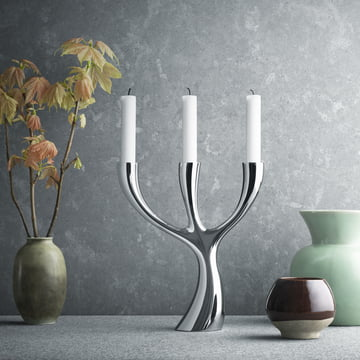 Georg Jensen - Cobra three-armed Candleholder, polished steel