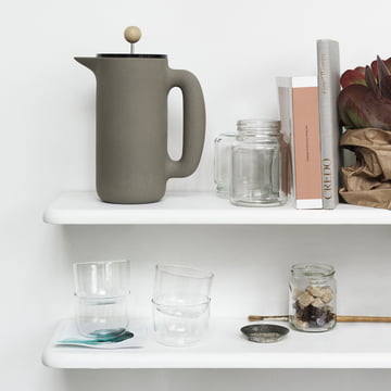 Muuto - Push Coffee Maker stone grey, on a shelf