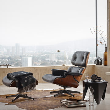 Lounge Chair & Ottoman by Vitra with the Prismatic Table