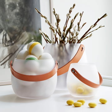 Holmegaard - Design with light glass bowl with leather strap, white