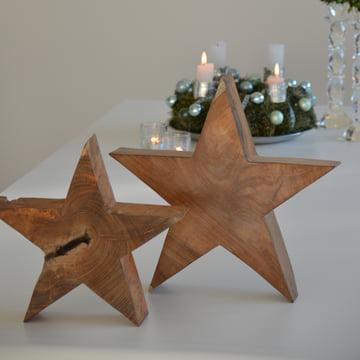 Jan Kurtz - wooden star, massive teak wood