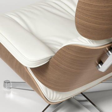 Vitra - Lounge Chair white, Leather Premium Snow