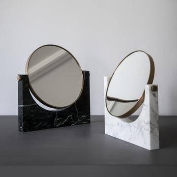 Menu - Pepe Marble Mirror, brass / white, brass / black
