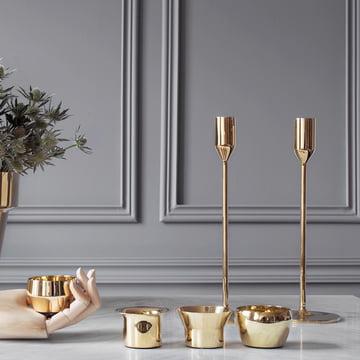 Skultuna - Candleholder and Tea Light Holder brass, ambience