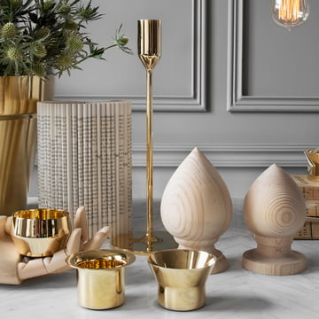 Skultuna -Tea Light Duo with Candleholder brass, ambience