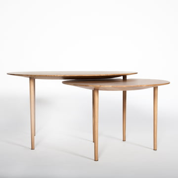 Hans Hansen - Nenufar Side Table Set of 2, solid oak, lateral view