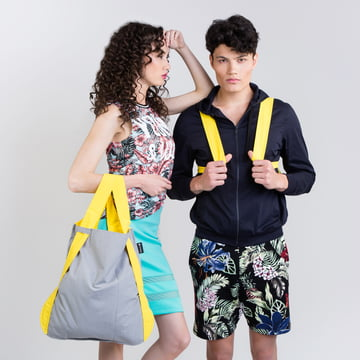 Notabag - bag and backpack, yellow / grey
