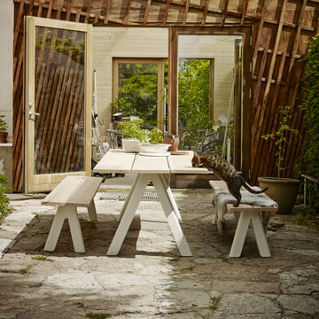 Wooden bench and table for indoors & outdoors