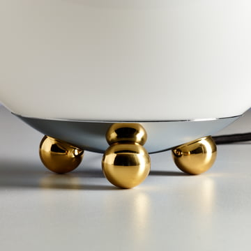 Art Déco AD 32 table lamp made of chrome-plated metal by Tecnolumen with brass balls.
