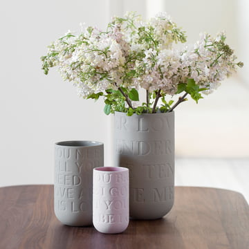 Decorative vases with typography details