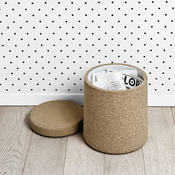 Cork storage and small table in one