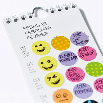 Monthly planner with colourful adhesive dots