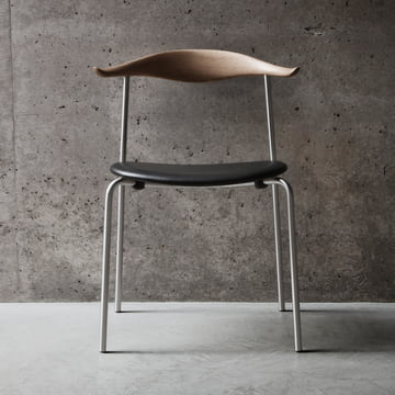 Carl Hansen - CH88P, Oak / black leather / steel frame