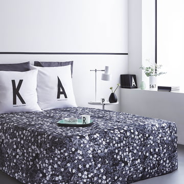 AJ Vintage Flowers Bedspread and ABC cushion from Design Letters