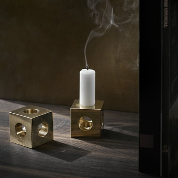 The Cube Candle Holder by Menu in brass