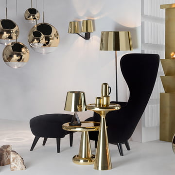 Base Collection by Tom Dixon with Wingback armchair and Ottoman