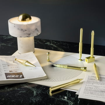 Stone Table Lamp and Cog Pencils by Tom Dixon