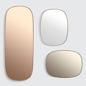 The Framed mirror from Muuto in large, rose / small, taupe / small, grey