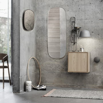 The Framed mirror, the Ambit pendant lamp and the Stacked shelf