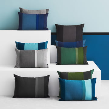The Line Cushions by Normann Copenhagen in blue, green, light grey and dark grey