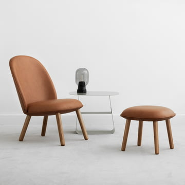 The Ace Footstool and Lounge Chair Tango leather by Normann Copenhagen
