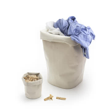 Container for laundry and clothes pegs