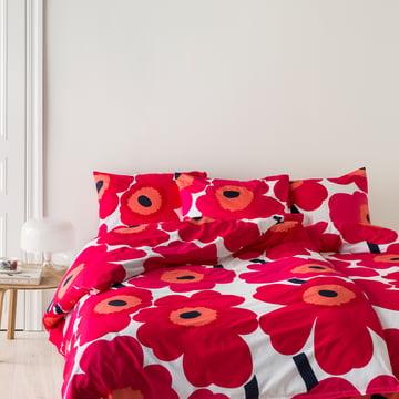 Marimekko - Unikko duevet cover and pillow case with a red-white florar print