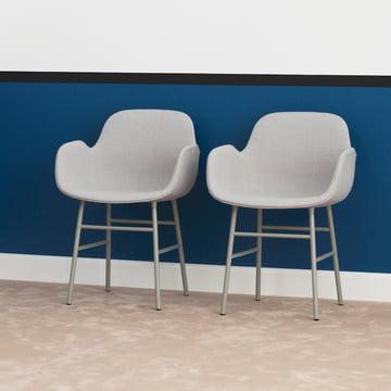 Form Armchair Steel Legs (cushioned) by Normann Copenhagen in Grey