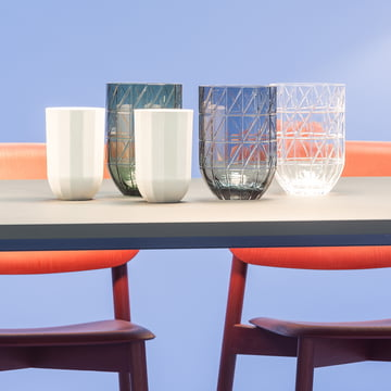 The Hay - Colour Vase glass vases in L and the Paper Porcelain vases in M.