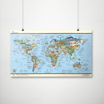 Travelmap/Bucketlist by Awesome Maps with wall attachment