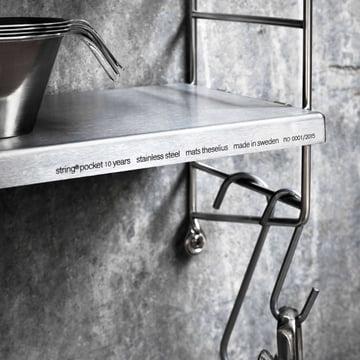 Pocket: Wall shelf in stainless steel
