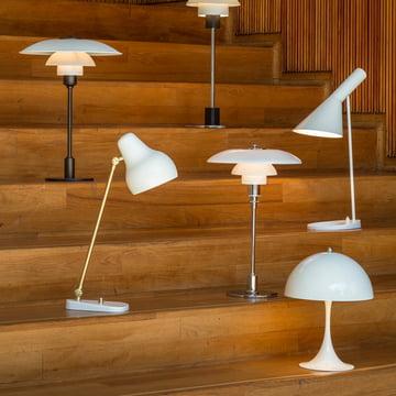 White design table lamps by Louis Poulsen