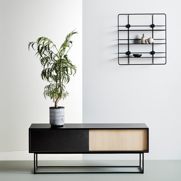 Virka sideboard Low and Stedge wall shelf by Woud