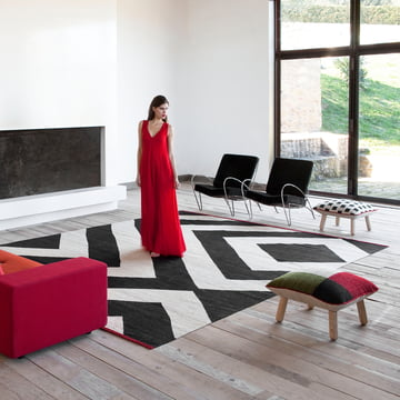 Mélange rug and pouf by nanimarquina