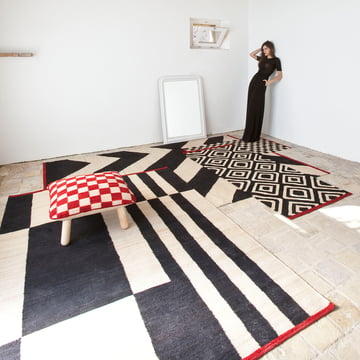 Mélange Rugs and Pouf by nanimarquina