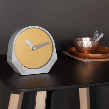 Konstantin Slawinski - Theda Table Clock in Pearl Gold