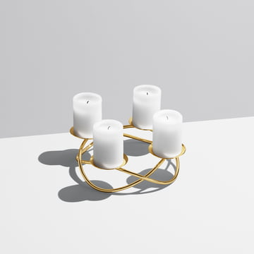 Large Season Candleholder by Georg Jensen out of gold-plated stainless steel