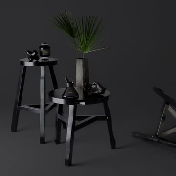 The Offcut Side Table in black and Offcut Stool in black by Tom Dixon