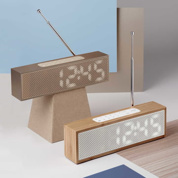 Titanium Radio Alarm Clock by Lexon