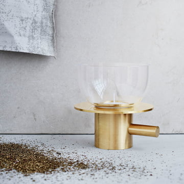 Tea Light Holder by Fritz Hansen in Brass / Glass