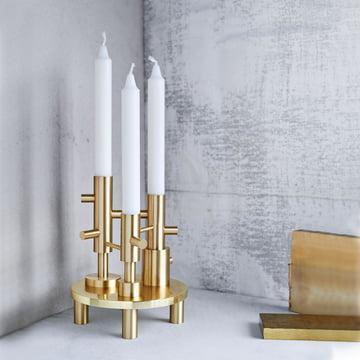 Candlestick Triple by Fritz Hansen in Brass