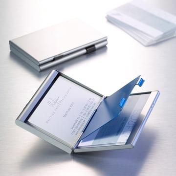 Troika - Business Card Holder, titanium colour / blue